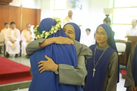 sisters greeting the newly professed