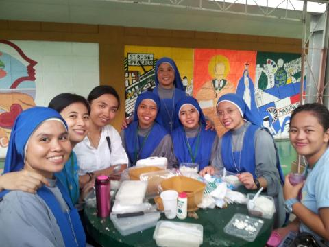 Lunch with volunteers from our parish
