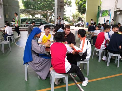 Lunchtime - missionaries and students share their lives and faith