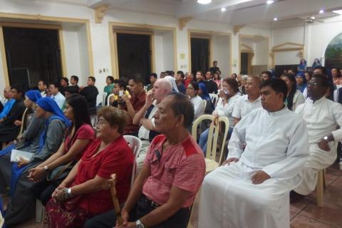 partiipants were immersed in deep thought by the testimony of the missionaries (Philippines)