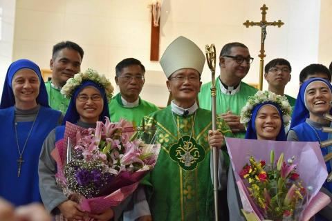TW profession 2017-picture with Bishop Su after the Holy Mass