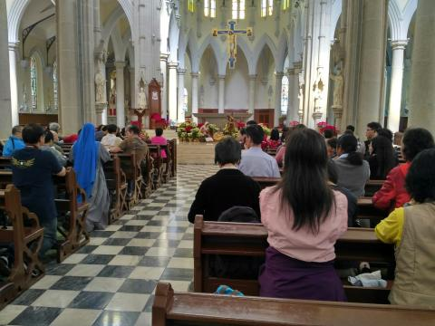 Walk for Vocation, Prayer in the Cathedral before starting